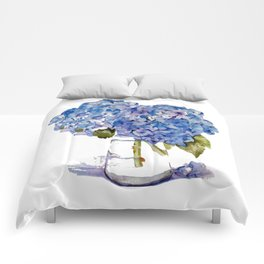 Hydrangea painting Comforters