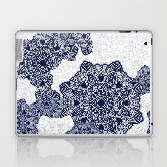 Blue and white mandala background Laptop & iPad Skin