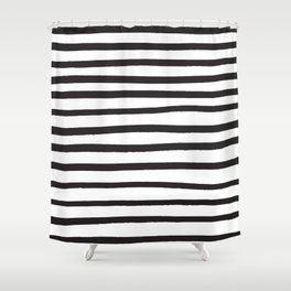 Black and white marker lines Shower Curtain