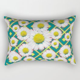 Teal Color Shasta Daisies Lime Pattern Art Abstract Rectangular Pillow