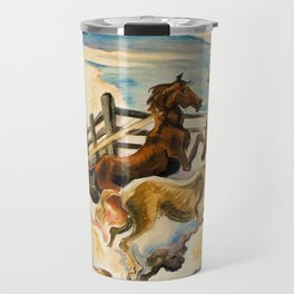 Classical Masterpiece by 'Lassoing Horses' Thomas Hart Benton Travel Mug
