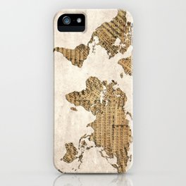 world map music vintage iPhone Case