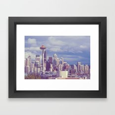 Space Needle Goes Galaxy Gold Framed Art Print