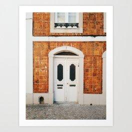 Door and tiles in Lisbon, Portugal Art Print