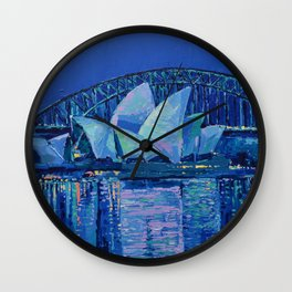 Sydney Opera House at Night - contemporary palette knife city landscape by Adriana Dziuba Wall Clock