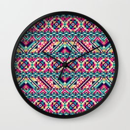 Pink, Teal, and Yellow Aztec Geometric Wall Clock