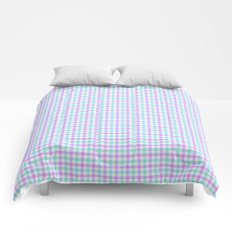 Gingham purple and teal Comforters