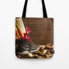 Shoe with carrots, for traditional Dutch holiday 'Sinterklaas' Tote Bag