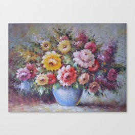 Flower Study - Flowers in a Blue Vase Canvas Print