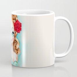 Rockabilly Babydoll Blonde with Red Rose Coffee Mug