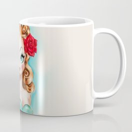 Rockabilly Babydoll Blonde with Red Rose Coffee Mug
