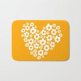 Floral Heart - Orange Bath Mat