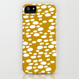 Monstera Leaf Hole Pattern - mustard yellow iPhone Case