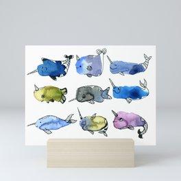 Nine Nifty Narwhals Watercolor Mini Art Print