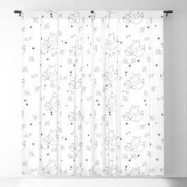Fox and Flowers Doodle Pattern Blackout Curtain