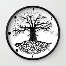 black and white tree of life with moon phases and celtic trinity knot II Wall Clock