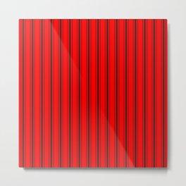 Mattress Ticking Wide Striped Pattern Jet Black on Red Metal Print