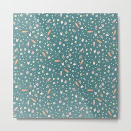 Scattered Jewels in Teal Metal Print