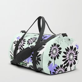 Trendy flowers & butterflies in purple, pink, green and B&W Duffle Bag