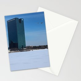 Toledo Fifth Third Bank Downtown in Winter Stationery Cards
