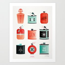Flask Collection – Red & Turquoise Palette Art Print