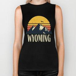 Wyoming Retro Vintage State Mountain Sunset Biker Tank