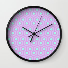 Lavender, Opal Purple, and Mellow Neon Green Pattern Wall Clock