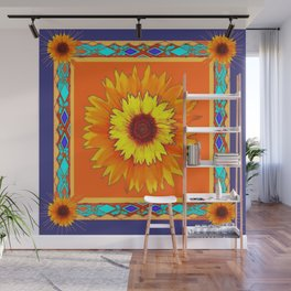 Southwestern Sun Flowers Abstract Design Wall Mural