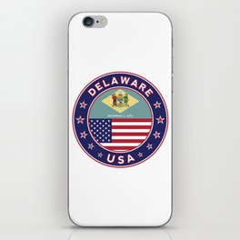 Delaware, Delaware t-shirt, Delaware sticker, circle, Delaware flag, white bg iPhone Skin