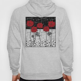 Applique Poppies on black and white background . Hoody