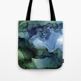 Blue Green Waves Abstract Ink Painting Tote Bag