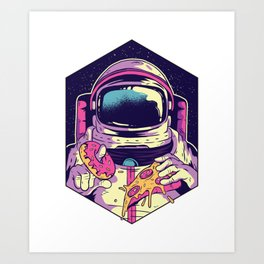Hungry Astronaut Eating Donuts and Pizza Art Print