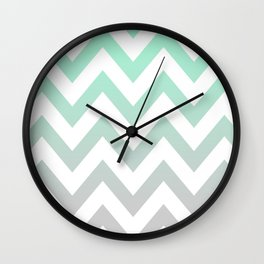 MINT GRAY CHEVRON FADE Wall Clock