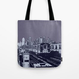 New York, NYC, Subway Train Yard at Night. (Photo collage, travel, gritty streets, graffiti) Tote Bag
