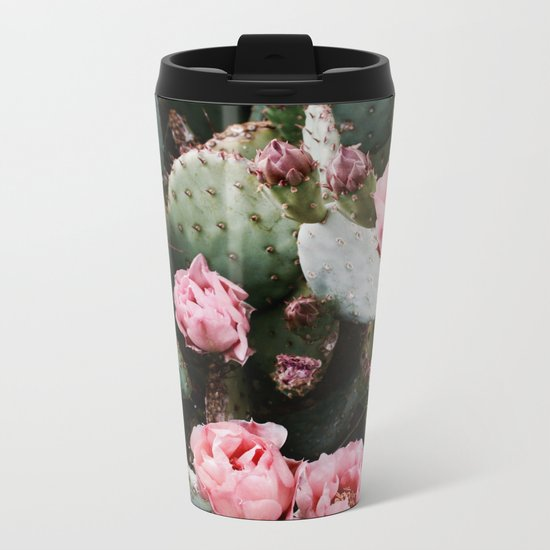 PINK CACTUS FLOWER ABSTRACT CLUSTER PATTERN Metal Travel Mug