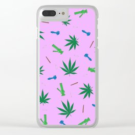 Cannabis & Paraphernalia Pattern Clear iPhone Case