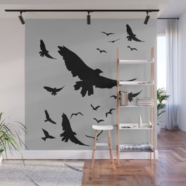 FLOCK OF RAVENS IN GREY SKY Wall Mural