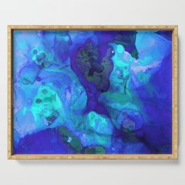 Violet Blue - Abstract Art By Sharon Cummings Serving Tray