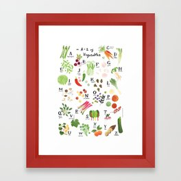 Illustrated Vegetable Alphabet Framed Art Print