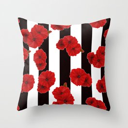 Red poppies on a black and white striped background. Throw Pillow