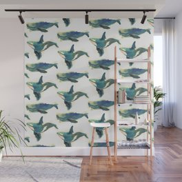 Watercolor Whales Wall Mural