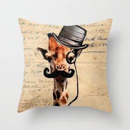 Giraffe Mustache Monocle Tophat Dandy Throw Pillow