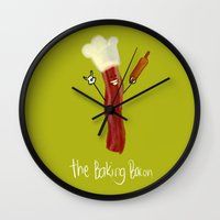 baking Wall Clocks featuring The Baking Bacon by Amplified27
