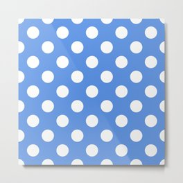 United Nations blue - turquoise - White Polka Dots - Pois Pattern Metal Print