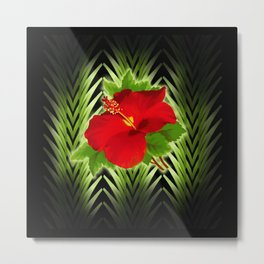 red hibiscus at midnight Metal Print