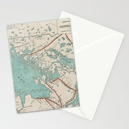 Vintage Map of Georgian Bay Stationery Cards