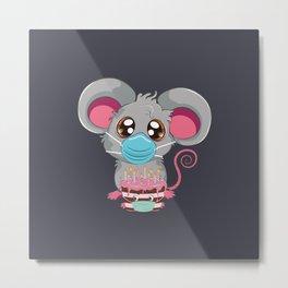 Kawaii rat in face mask with chocolate cake, Quarantine birthday Metal Print