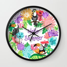 Hello Summer Background with tropical birds and exotic flower. Hello summer print. Wall Clock