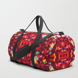 Red abstract mosaic shiny glitter pattern Mandala Duffle Bag