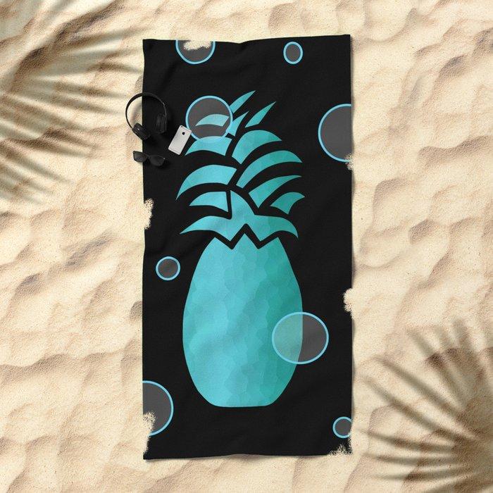 Tropical Blue And Black Beach Towel